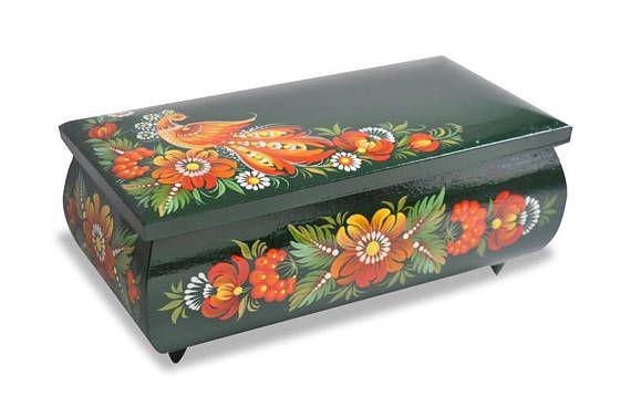 Wooden jewelry casket room decor aesthetic. Memory storage Blue jewelry box Shabby chic rose decor