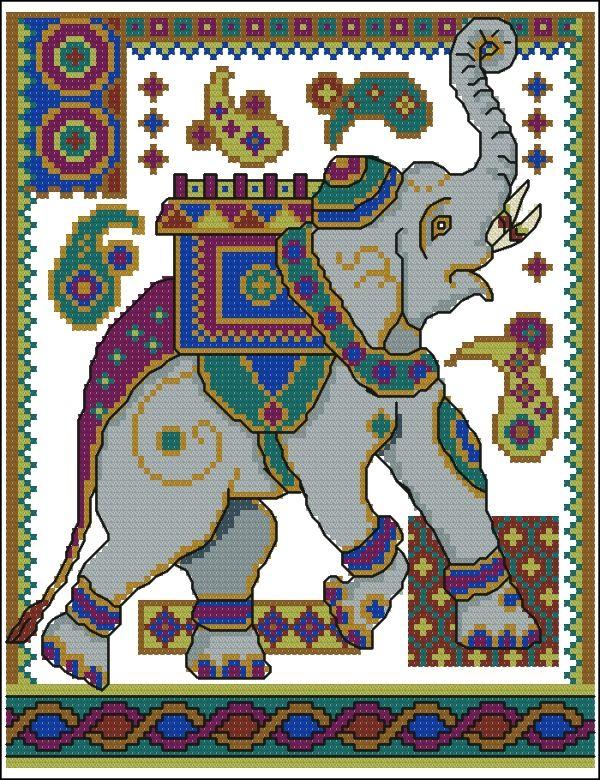 Схемы вышивки индийских слонов