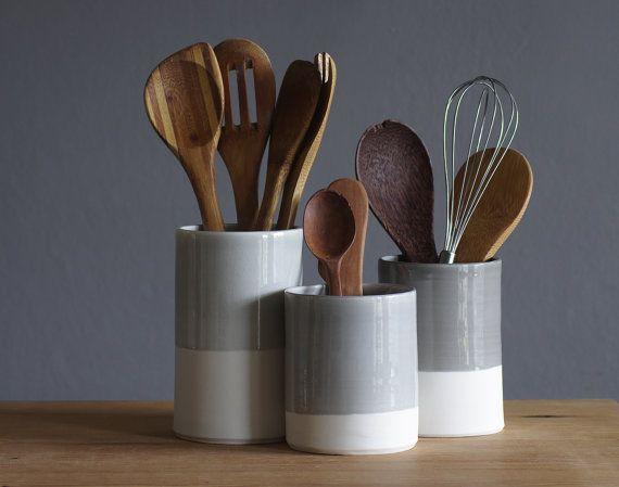 One Porcelain Utensil Holder In Your Choice Of Glaze Color. Modern Kitchen  Utensil Holder Handmade By Vitrifiedstudio
