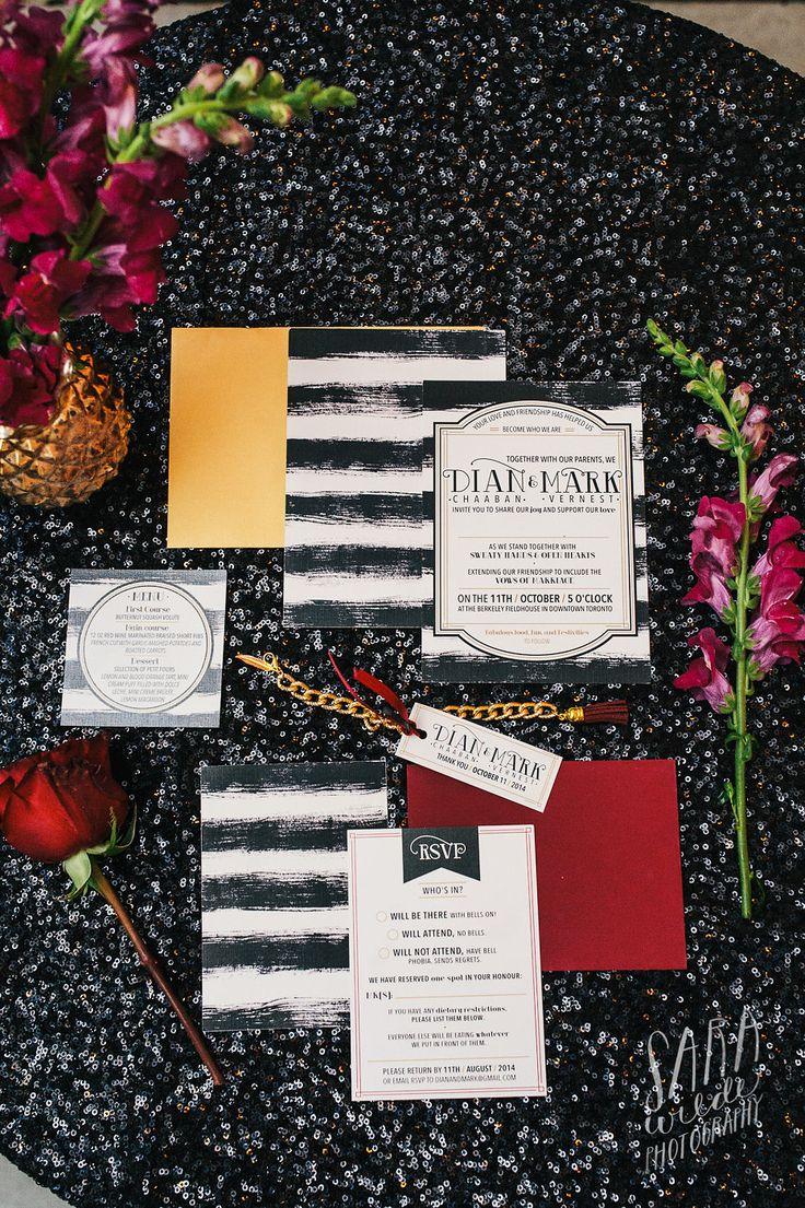 modern kate spade meets rustic weddign invitations, moody