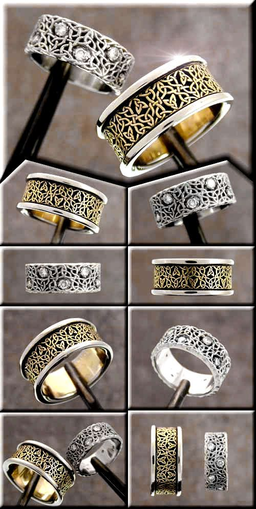 Another pair of custom celtic wedding rings, Cari Buziak (Aon Celtic design): Celtic Designs, Custom Celtic, Aon Celtic, Knotwork Design, Celtic Men Wedding Rings, Celtic Rings, Celtic Wedding Rings Sets, Beautiful Celtic Knotwork, Tradeshop Jewelry