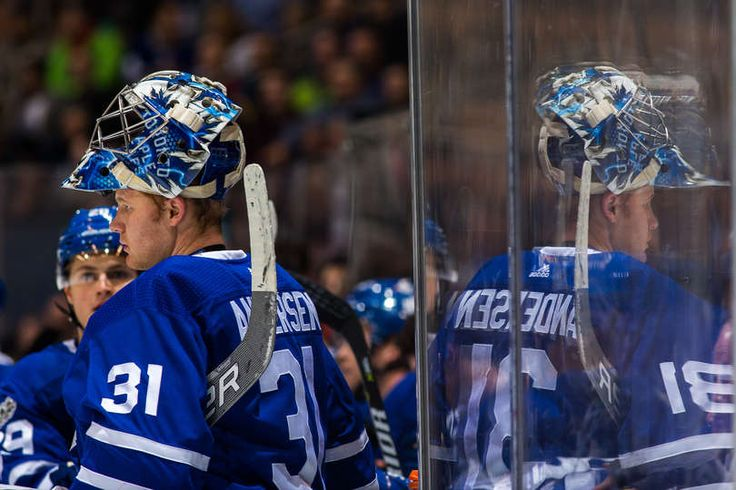 TORONTO, ON - NOVEMBER 16: Frederik Andersen #31 of the Toronto Maple Leafs stands near the bench at an NHL game against the New Jersey Devils during the first period at the Air Canada Centre on November 16, 2017 in Toronto, Ontario, Canada. (Photo by Kevin Sousa/NHLI via Getty Images)