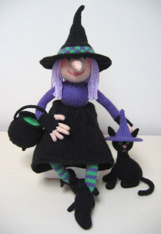 halloween witch and cat knitting pattern retail not free from alan dart - Free Halloween Knitting Patterns