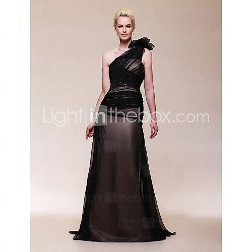 [USD $ 149.99] Chiffon Satin A-line One Shoulder Sweep/ Brush Train Evening Dress inspired by Halle Berry