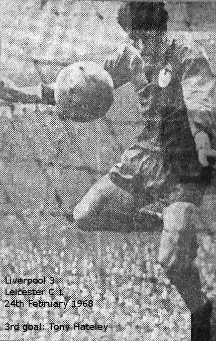 Liverpool 3 Leicester City 1 in Feb 1968 at Anfield. Tony Hateley scores Liverpool's 3rd goal #Div1