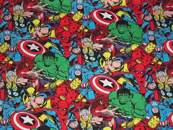 Marvel Comic SuperHero Fabric By The Yard by CutiePieCraftSupply