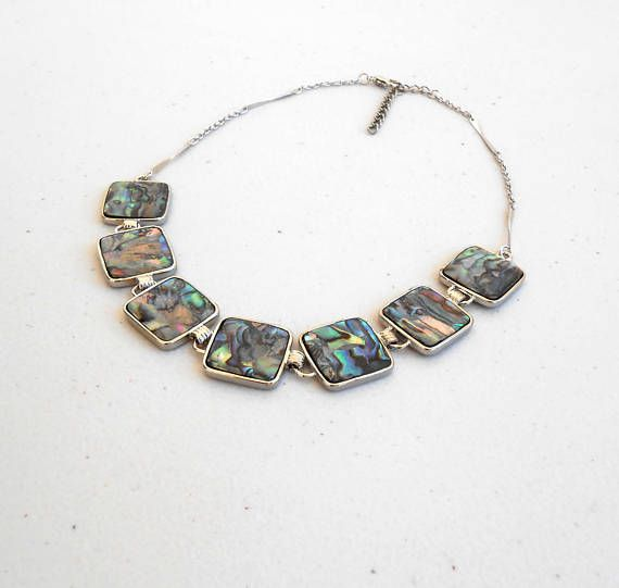 Choker Necklace Abalone Silver Statement Beach Shell Simple
