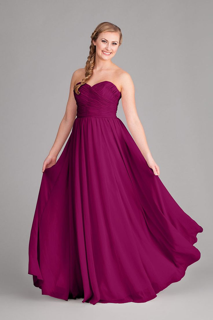 The Emma is a gorgeous floor length crinkle chiffon bridesmaid dress under $150. The Emma features a strapless silhouette and a flattering ruched bodice and a sweetheart neckline. The Emma has a figur