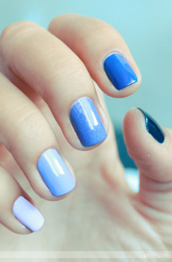 Show off the best of your essie blues with this ombre manicure. Paint each nail a different shade of polish ranging from navy 'midnight cami' to royal blue 'mezmerised' to soft baby blue 'bikini so teeny'.