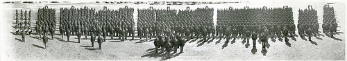 "Panoramic photo of the 3rd US Infantry Regiment taken at Camp Jackson, SC on Febraury 29, 1940. Photo is captioned "" 3D Infatnry Regiment, (Less Band), Camp Jackson, S.C., Feb. 29, 1940, Col. Maurice D. Welty, Commanding."" In the lower right corner is the maker information: ""Chas. B. Roper, Jr./Photo No. 5749-A/National Photo & News Service/San Antonio, Texas."""
