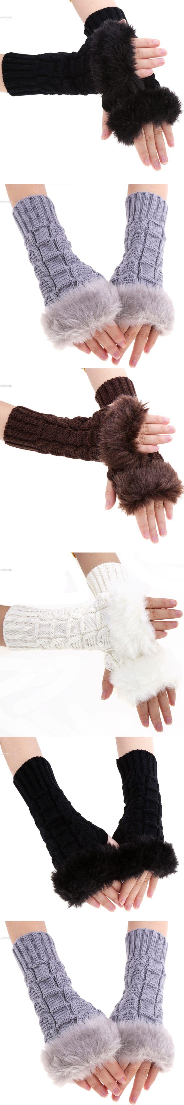 High Quaity Faux Fur Fingerless Gloves Women Knitted Gloves Warm Winter Half Finger Cuff Gloves Women Wrist Winter Long Mittens