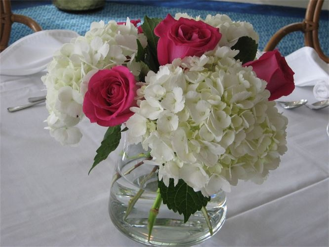 Hydrangea roses dahlias etc for centerpieces