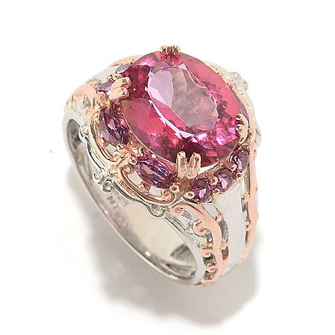 153-278 - Gems en Vogue 4.68ctw Pink Topaz & Multi Shape Rhodolite Ring