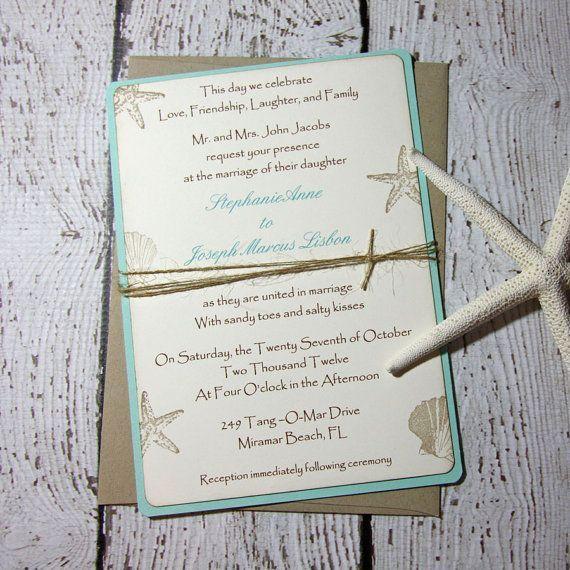 Aqua Beach Wedding Invitations/Wedding Invitations/Tropical Wedding Invitations - Set of 100 on Etsy, $400.00