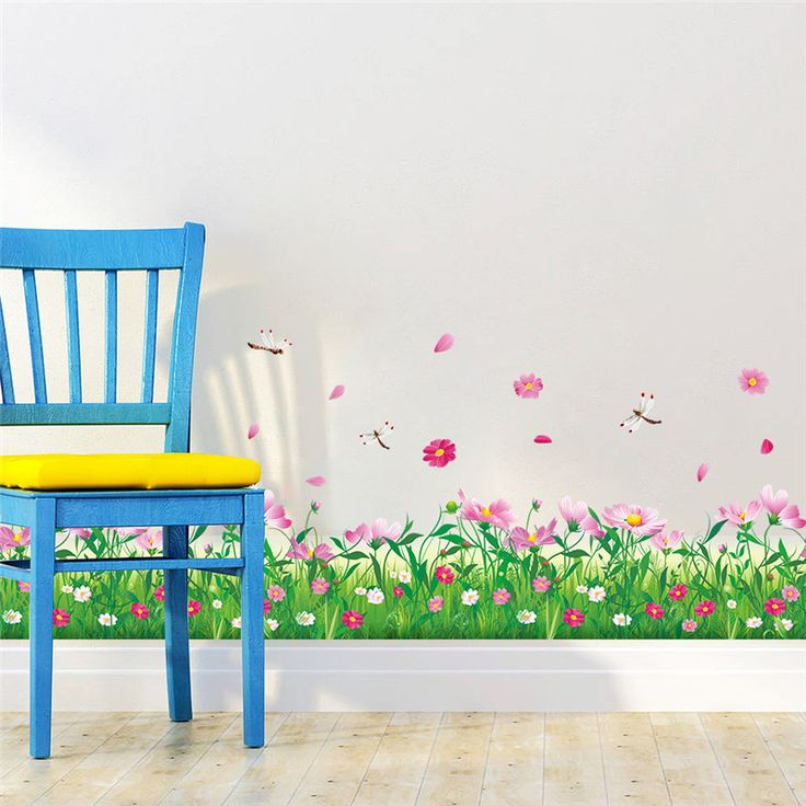 Grass Flowers and Dragonfly Wall Sticker //Price: $9.37 & FREE Shipping //     #wallsticker