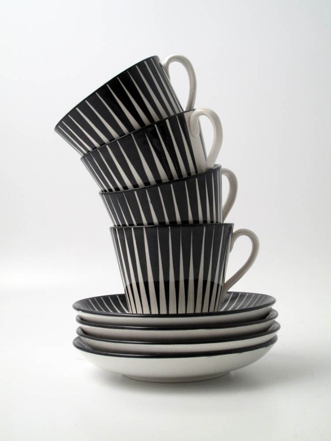 Loving the black and white stripe pattern of Zebra coffee and tea cups by Gefle porslin 1955-67 Sweden