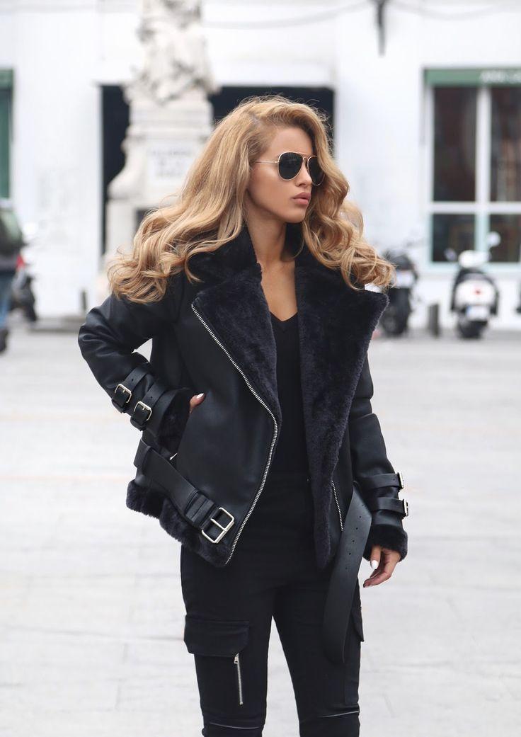 Nada Adelle shearling biker jacket