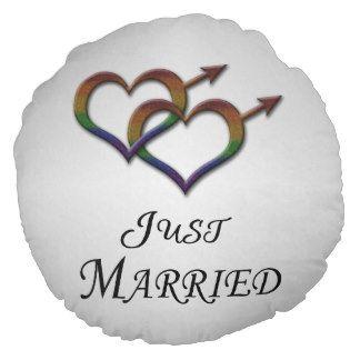 Orgulho gay do recem casados almofada redonda