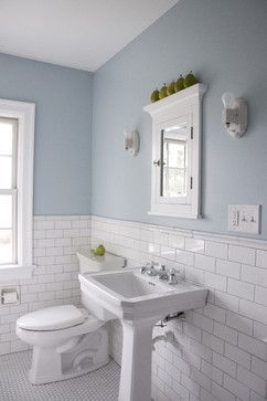 Love the subway tile behind the sink and toilet