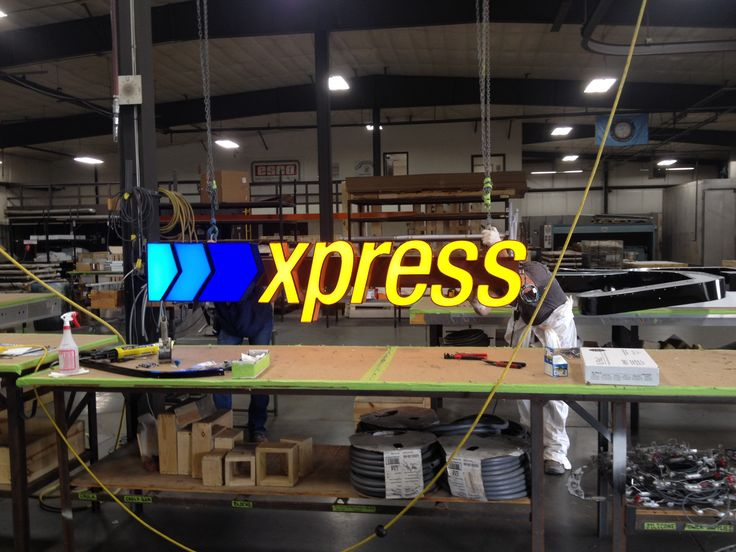 some regular channel letters on raceway for Goodwill. This is at our Channel letter plant, Esco Manufacturing.