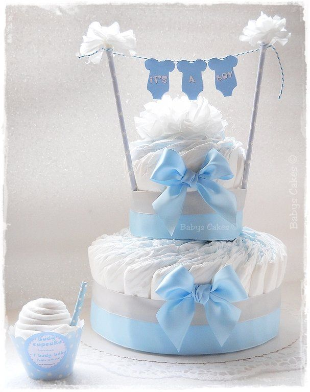 Gateau de couches baby shower It's a boy