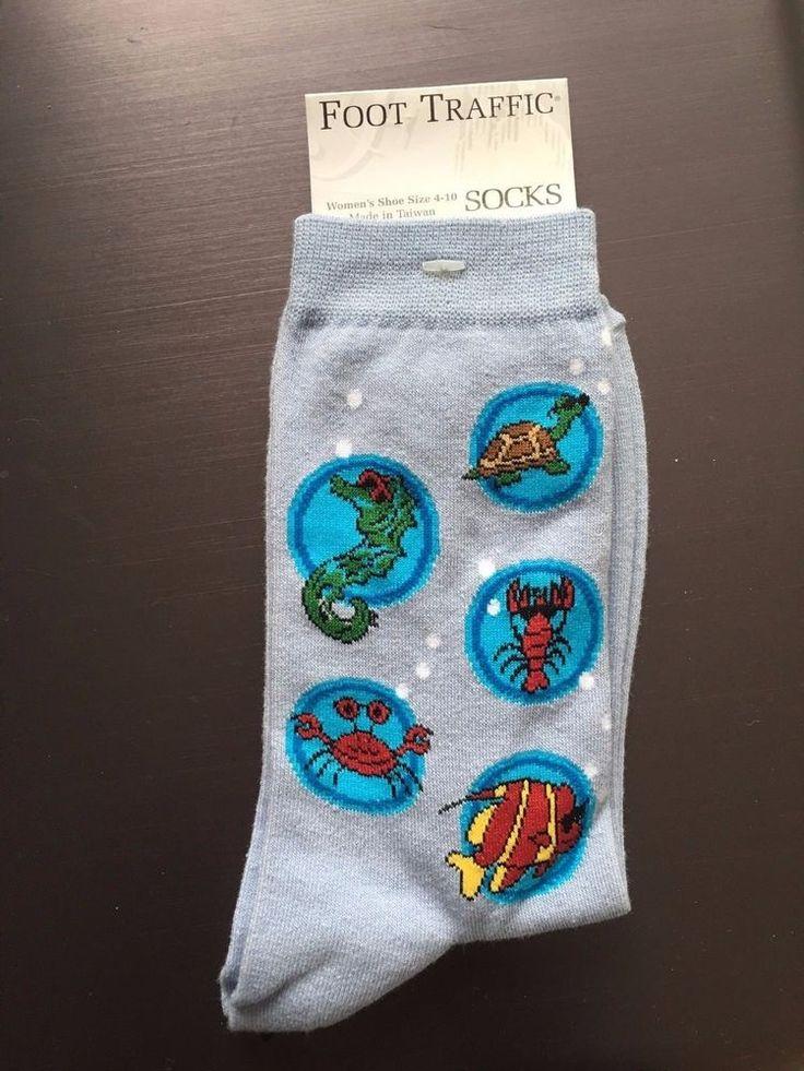 Sea Ocean Seahorse crab lobster fish Socks Crew Foot Traffic Ladies Womens blue #FootTraffic #Casual #Socks