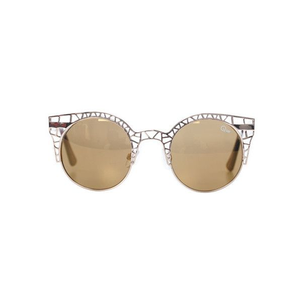 Quay Eyewear Fleur Sunglasses ($50) ❤ liked on Polyvore featuring accessories, eyewear, sunglasses, glasses, gold, gold sunglasses, quay sunglasses, quay eyewear and gold glasses