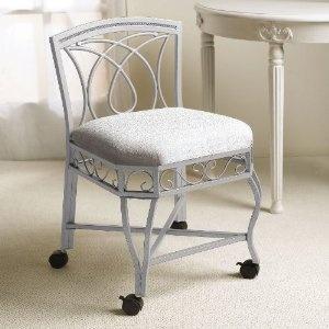 Vanity stool vanities and stools on pinterest - Bathroom vanity chair with casters ...