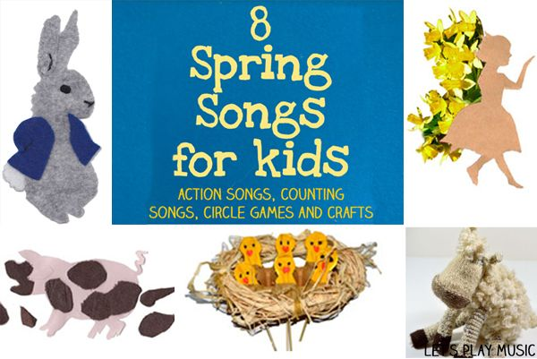 Collection of spring songs for kids each with a different educational focus, including counting songs, puppets, a craft and a circle game.