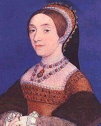Catherine Howard fut la cinquième épouse d'Henri VIII ; miniature réalisée par Hans Holbein le Jeune Portrait de trois-quart d'une femme portant une coiffe, une robe orange et plusieurs colliers