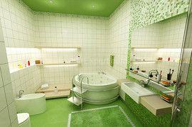 グリーンのバスルーム