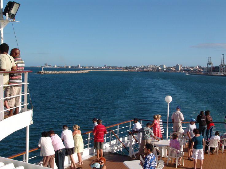 MSC Rhapsody cruise ship leaving Port Elizabeth Harbour, Port Elizabeth, South Africa.