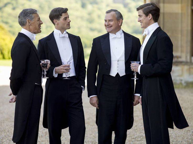 Downton Abbey series 5 The boys: Lord Merton, Tim Grey, Robert, Earl of Grantham and Atticus Aldridge