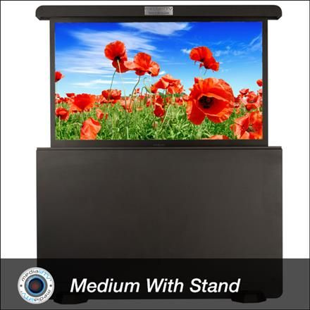 Any outdoor space becomes a media room with MediaLifTV, the first commercially available weatherproof pop-up TV enclosure.  The Medium Landscape Television Enclosure is a sleek, tough-built weatherproof metal outdoor television enclosure for all your media gear including: flat screen television, cable box, Blu-Ray player and game box.