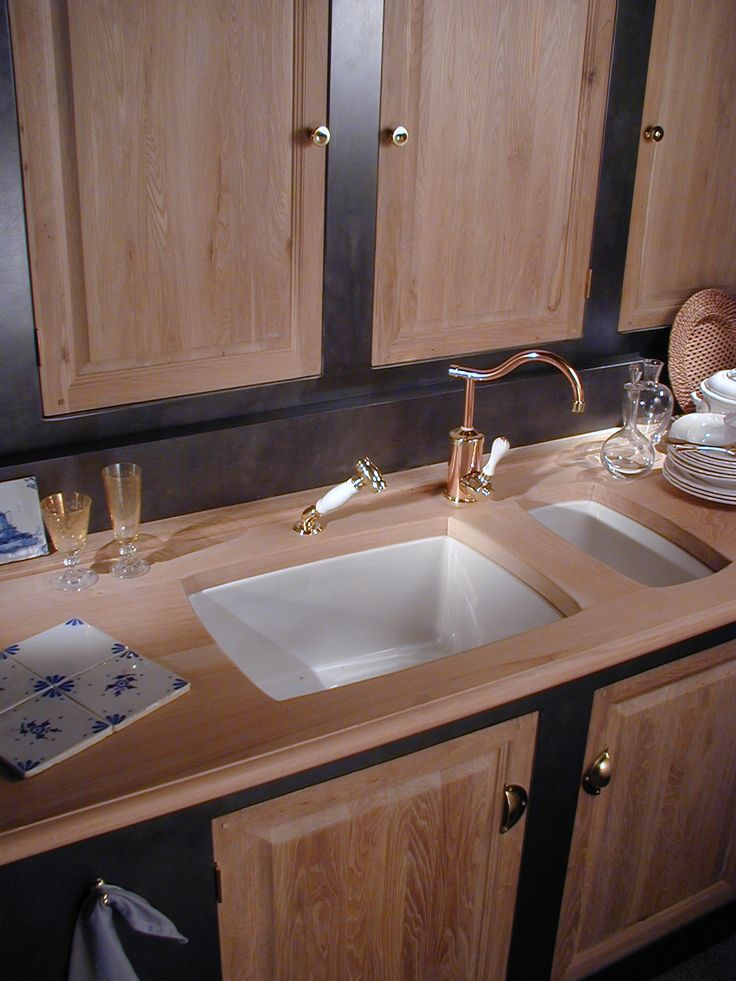 french kitchen with lots of beautiful wood cabinetry and 2 herbeau drop in fireclay sinks - French Kitchen Sinks