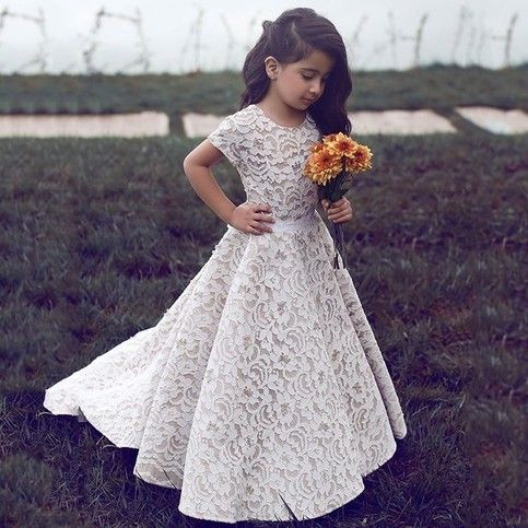 Cute Short Sleeve Ivory Lace Flower Girl Dress with Train