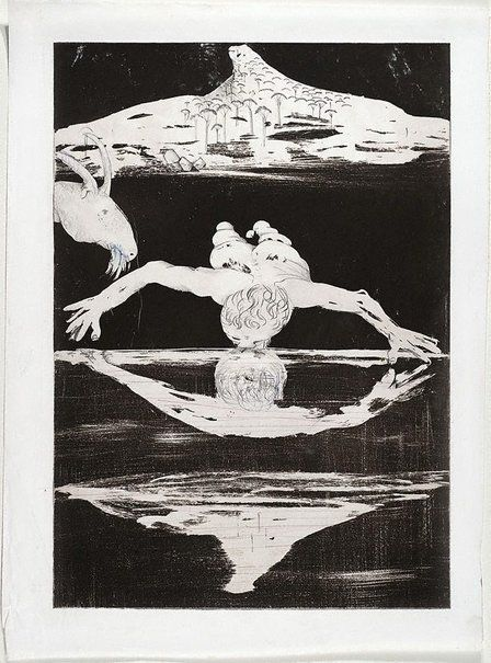 Illustration for Peter Porter's poem 'The Narcissus emblems' (1983-1984) from the portfolio Narcissus by Arthur Boyd (Australian) via AGNSW.