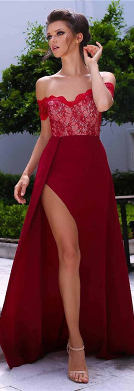 elegant off the shoulder red prom dress, sexy lace party dress with slit