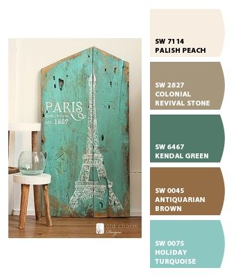 Wonder if the hubby would like thse colors just as much as I do.Paint colors from Chip It! by Sherwin-Williams