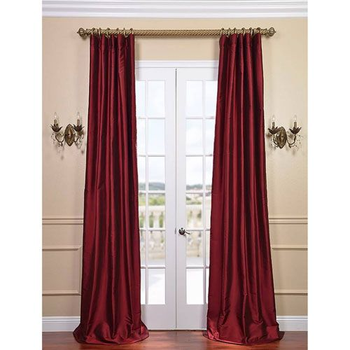 Exclusive Fabrics & Furnishings Bold Red 96 x 50-Inch Thai Silk Curtain Single Panel
