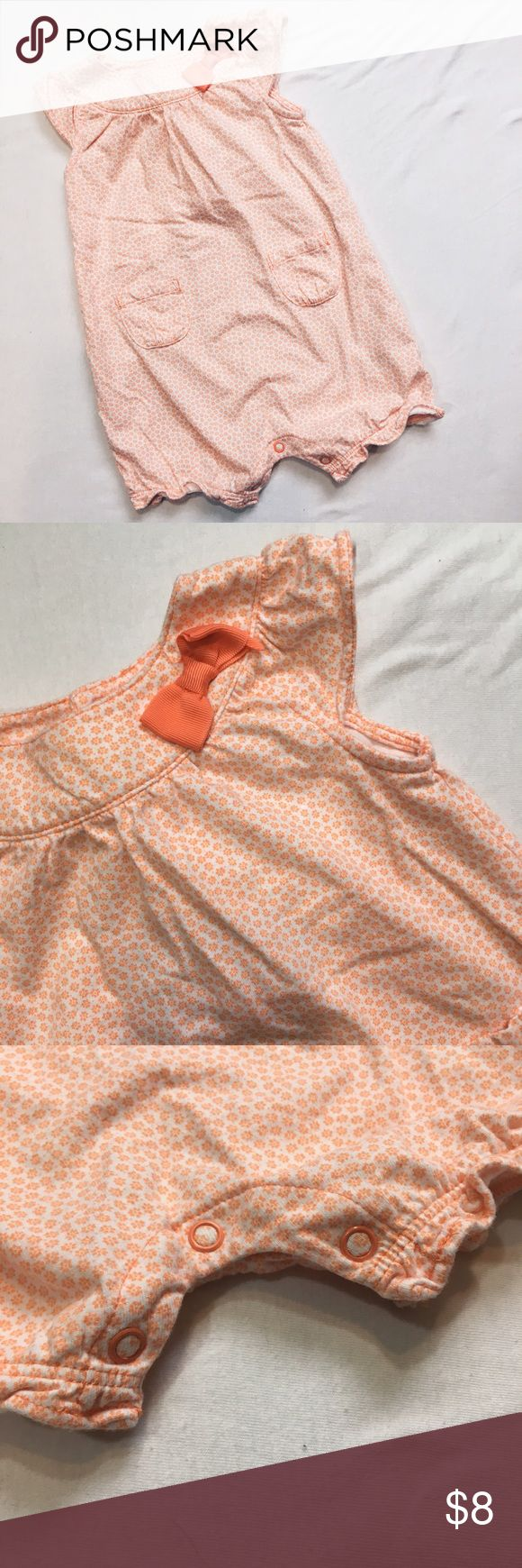 ⭐️ Orange / Peach Shorts Romper Shorts Romper with snaps at the bottom for easy diaper changes. Worn maybe once, excellent condition. Perfect for summer Carter's Bottoms Jumpsuits & Rompers