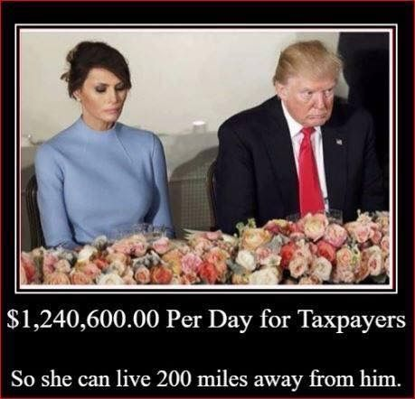 Over 1 Million dollars per day. I can't blame her for not wanting to live with this POS but why should taxpayers foot the bill? Can you imagine the outrage had Michelle Obama wanted to live somewhere else?