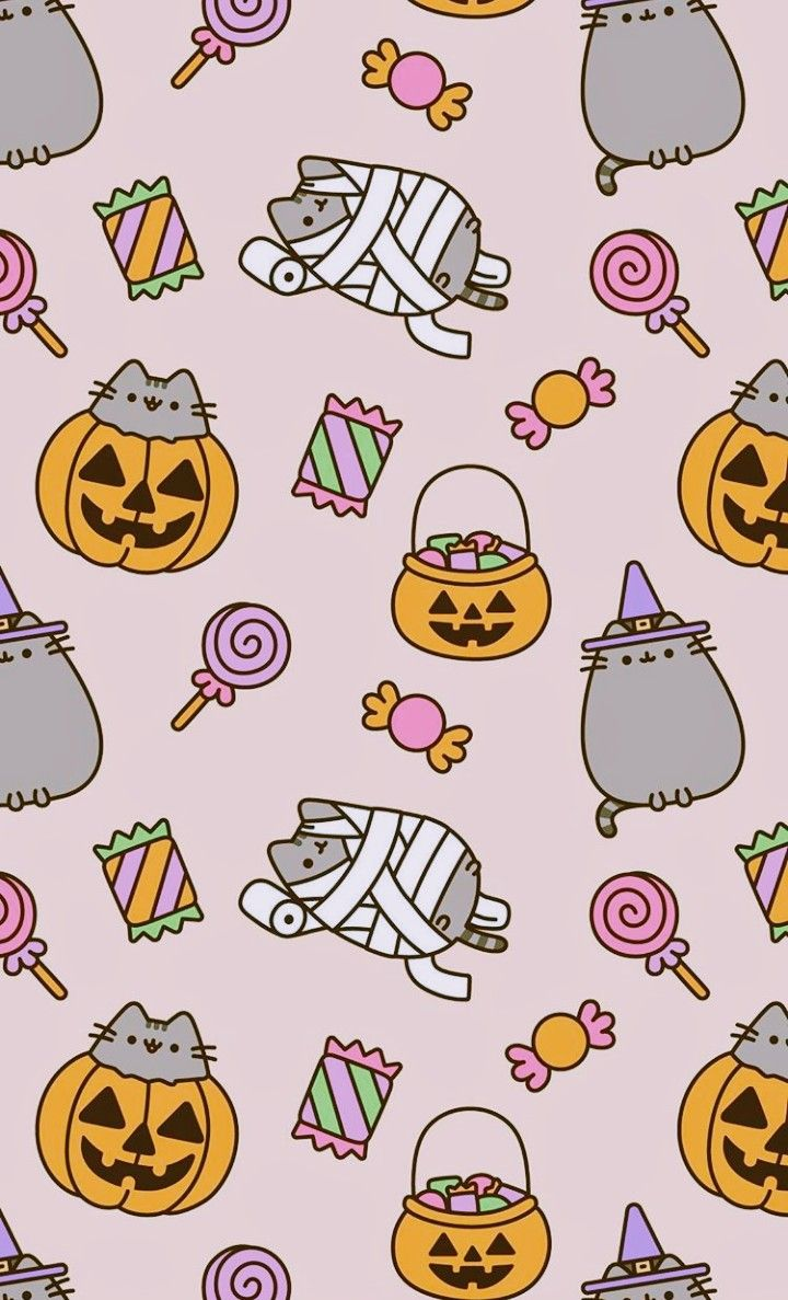 Pusheen Goes Trick Or Treating Halloween Wallpaper Iphone Halloween Wallpaper Pusheen Cute