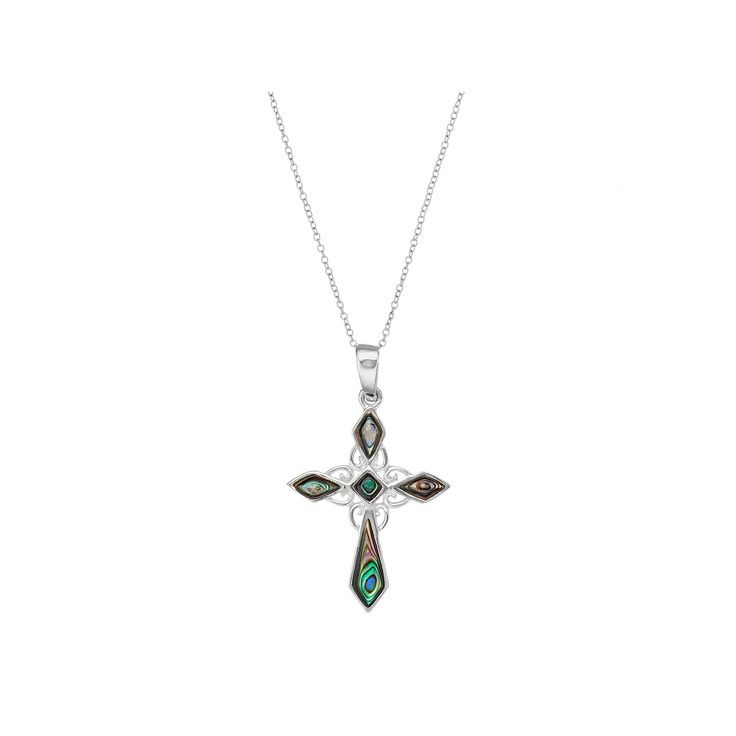 Sterling Silver Abalone Cross Pendant Necklace, Women's, Grey