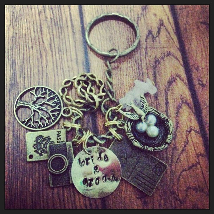 Handmade by Daysie Chains  Handstamped Bronze Wedding Keyring
