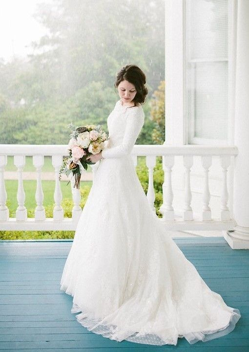 Long-sleeve wedding gown custom made by Tulle & Chantilly  #modest #tznius