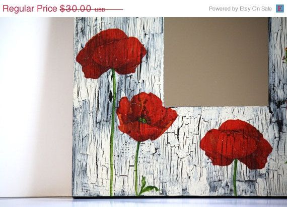20  off SALE Poppy decoupage mirror home decor living by CatHot, $24.00