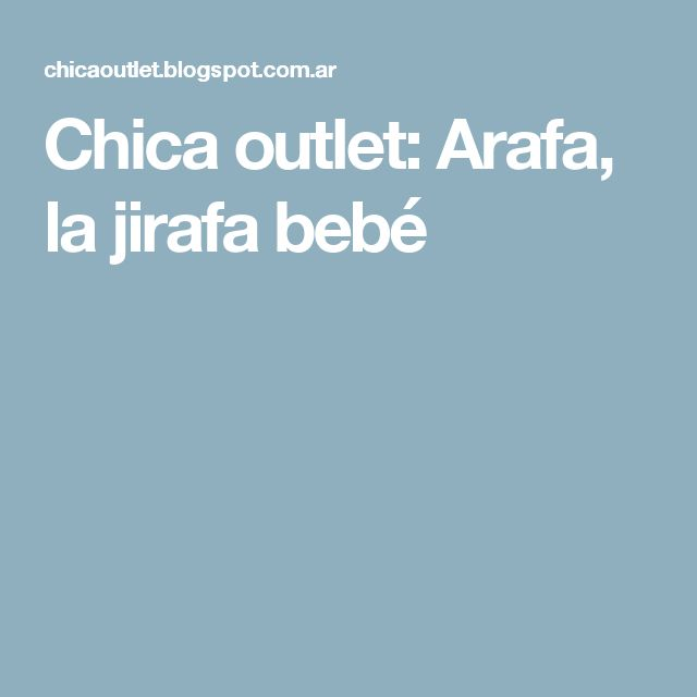 Chica outlet: Arafa, la jirafa bebé