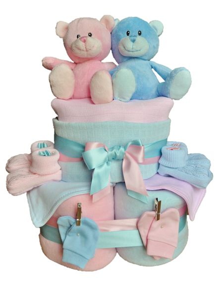 Double the love - Twins Nappy Cake  Delight the Mummy-To-Be with this impressive Twins Nappy Cake  Moulded expertly into shape, it comes packed with many helpful essentials for the new babies.  If you would like more items on this cake please let us know!  For a full list of ingredients please follow the link below http://www.babybooboutique.co.uk/#!/Double-the-love-Twins-Nappy-Cake/p/50216430/category=13048169