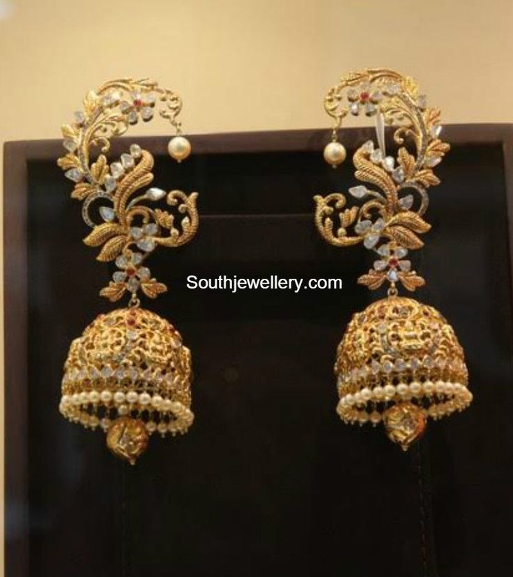 Antique Gold Lakshmi Jhumkas Indian Jewellery